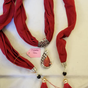SALE NWT Embellished Scarf Red Cotton Peacock